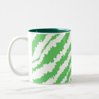 Pattern of Wavy Green Stripes. Two-Tone Coffee Mug