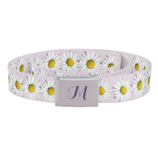 Pattern of Yellow and White Daisies Monogram Belt
