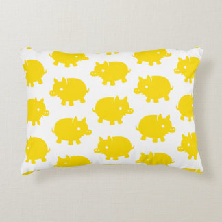 Pattern of Yellow Pigs on a White Background Decorative Pillow