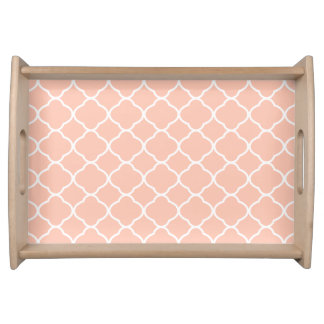 Pattern Pastel Peach Quatrefoil Serving Tray