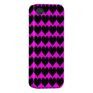 Pattern: Pink Background with Black Hearts Cases For iPhone 4