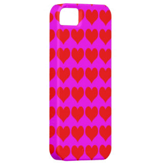Pattern: Pink Background with Red Hearts Case For The iPhone 5