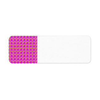 Pattern: Pink Background with Yellow Stars Return Address Label