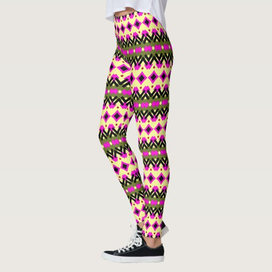 Pattern Rows Diamonds Leggings