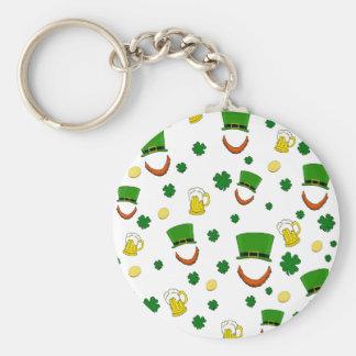 Pattern - St. Patrick's day Basic Round Button Keychain