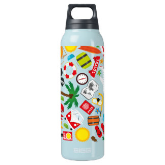 Pattern Summer holiday travel south sea Insulated Water Bottle