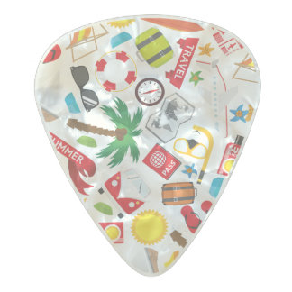 Pattern Summer holiday travel south sea Pearl Celluloid Guitar Pick