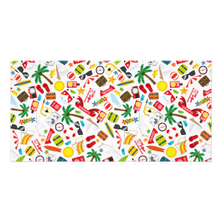 Pattern Summer holiday travel south sea Photo Card