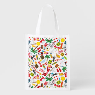 Pattern Summer holiday travel south sea Reusable Grocery Bag