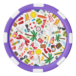 Pattern Summer holiday travel south sea Set Of Poker Chips