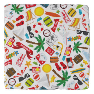 Pattern Summer holiday travel south sea Trivet