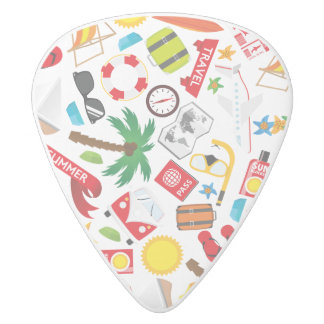 Pattern Summer holiday travel south sea White Delrin Guitar Pick