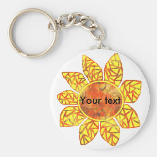 Pattern Sunflower, Your text key chain