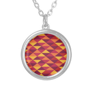 Pattern Triangles Orange - red Standard Silver Plated Necklace
