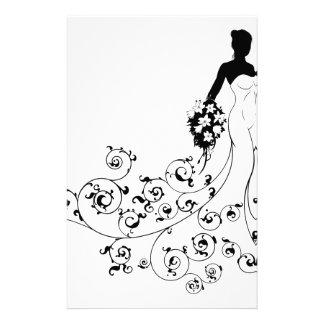 Pattern Wedding Bride Silhouette Stationery Paper