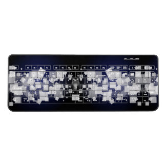 Pattern White Squares Blue Background Wireless Keyboard