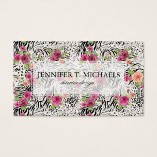 Pattern With Animal Prints | Monogram Business Card