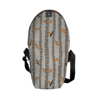 Pattern with autumn trees and birds courier bag