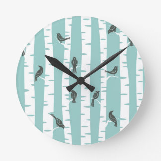 Pattern with birds and trees round clock