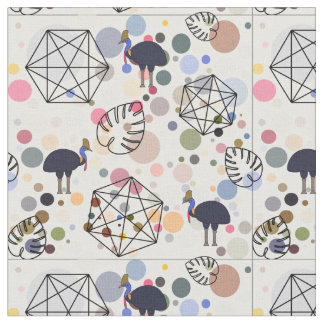 Pattern with birds, palm leaves and circles fabric
