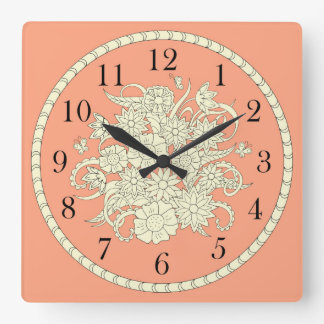pattern with bouquet into sends it square wall clock