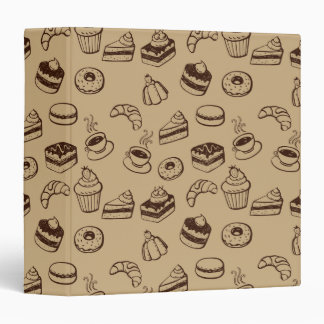 Pattern With Cakes, Desserts And Bakery Vinyl Binders