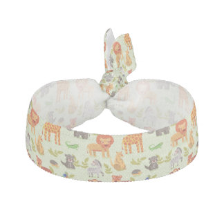 Pattern With Cartoon Animals Ribbon Hair Tie