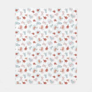 pattern with cartoon birds fleece blanket