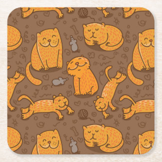 Pattern With Cats Square Paper Coaster