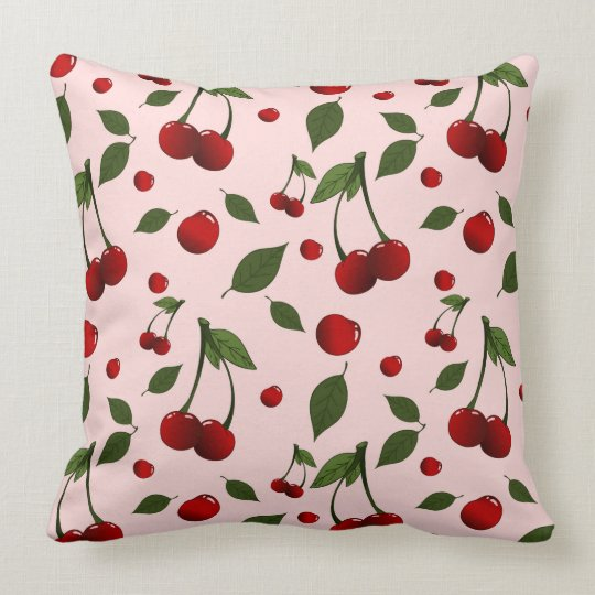 Pattern with cherries and leaves placed randomly throw pillow