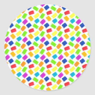 Pattern with colored spots of pastel crayon classic round sticker