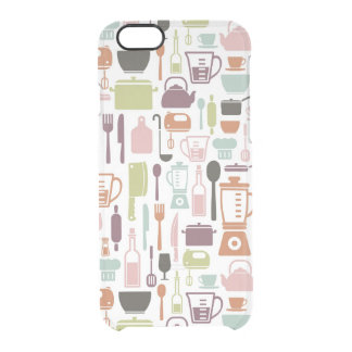 Pattern with colorful cooking icons clear iPhone 6/6S case