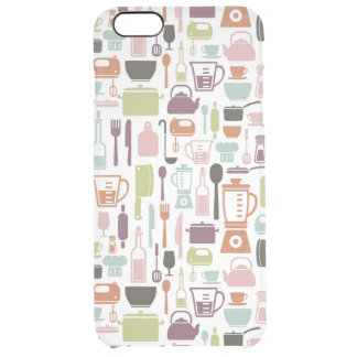 Pattern with colorful cooking icons clear iPhone 6 plus case