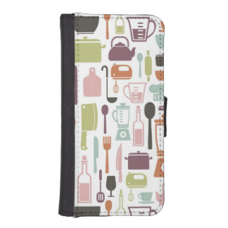 Pattern with colorful cooking icons phone wallets