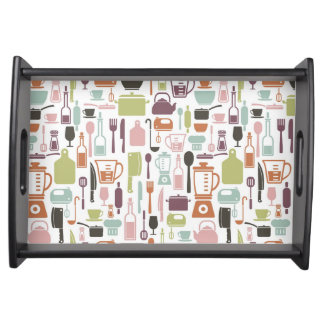 Pattern with colorful cooking icons service tray