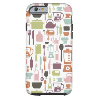 Pattern with colorful cooking icons tough iPhone 6 case