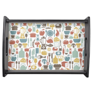 Pattern with cooking icons service tray