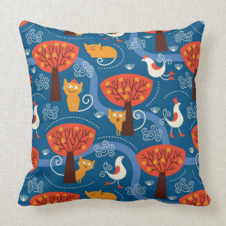 pattern with cute cats and birds throw pillow