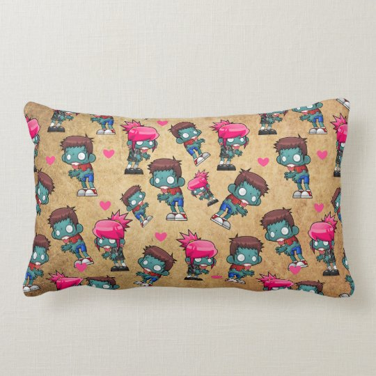 Pattern with Cute Zombie Girls, Guys and Hearts Lumbar Pillow