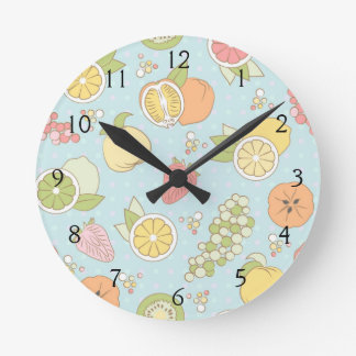 Pattern With Fruits And Berries Round Clock