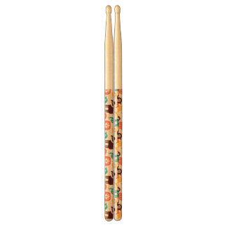 Pattern With Funny Cats And Dogs Drum Sticks