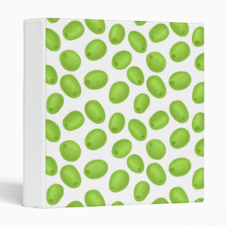 Pattern with  green olives 3 ring binders
