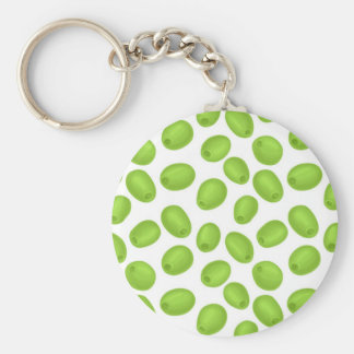 Pattern with  green olives basic round button keychain