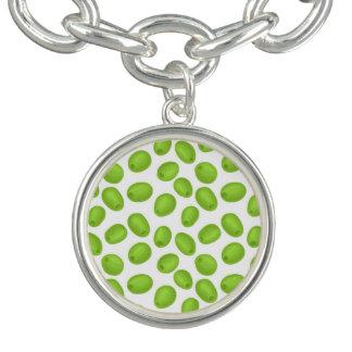 Pattern with  green olives bracelet