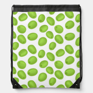 Pattern with  green olives drawstring bag