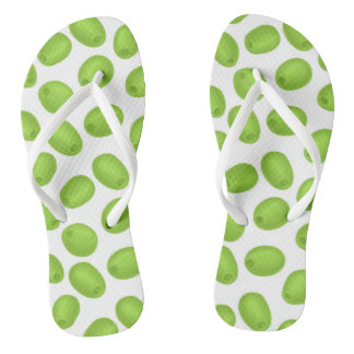 Pattern with  green olives flip flops