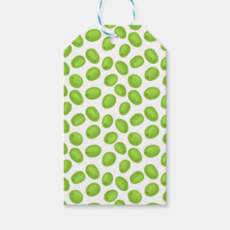 Pattern with  green olives gift tags