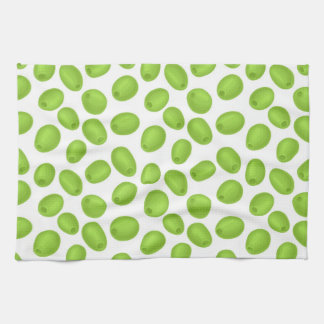 Pattern with  green olives kitchen towel