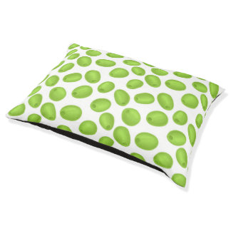 Pattern with  green olives pet bed