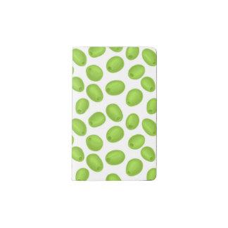 Pattern with  green olives pocket moleskine notebook